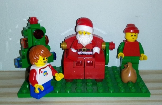 X with Lego Father Christmas and Elf