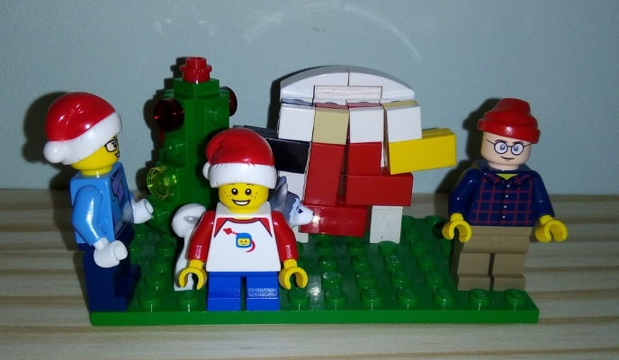 Putting Up the Lego Christmas Decorations